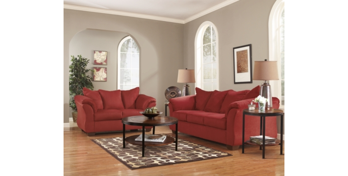 Darcy Sofa and Love Seat in Salsa