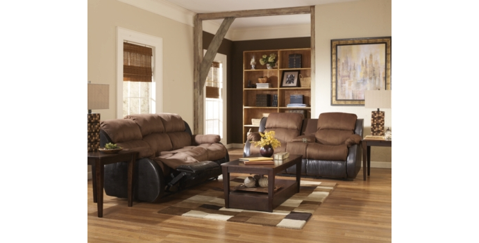 Presley Double Reclining Sofa & Love Seat in Espresso & Cocoa