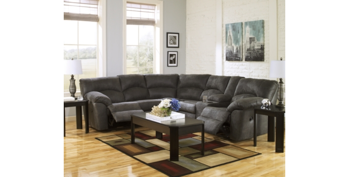 Tambo - Double Reclining Sectional in Pweter